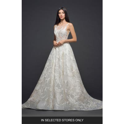 Lazaro Embroidered Tulle Gown, Size IN STORE ONLY - Ivory