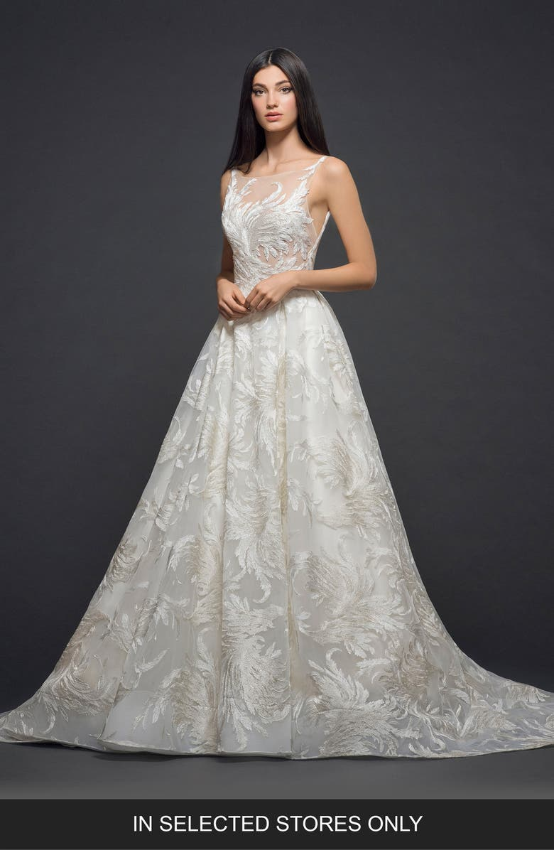 LAZARO Embroidered Tulle Gown, Main, color, IVORY