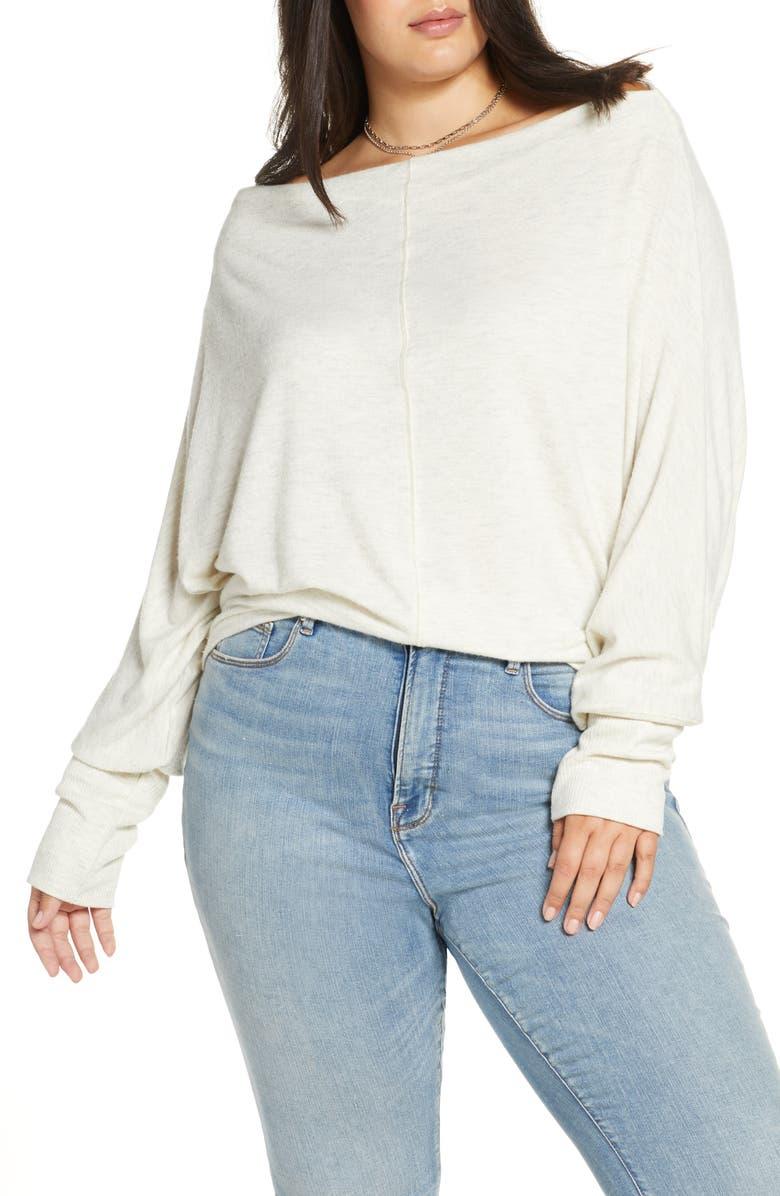TREASURE & BOND Slouchy Knit Top, Main, color, BEIGE OATMEAL LIGHT HEATHER