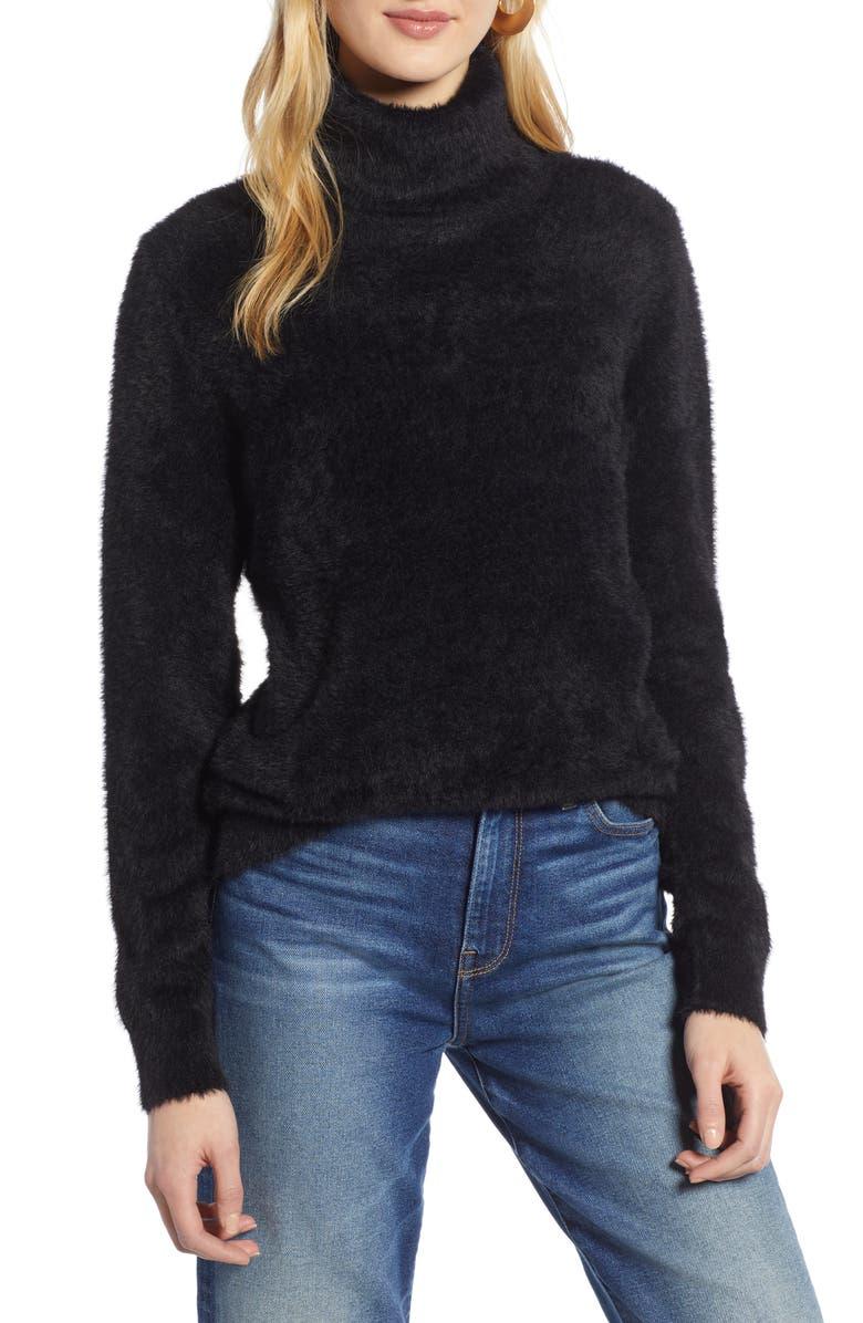 HALOGEN<SUP>®</SUP> Fuzzy Turtleneck Pullover, Main, color, BLACK