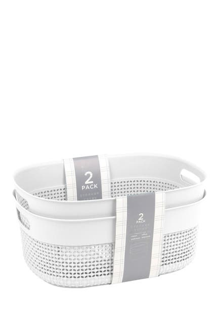 2-Pack Azzure Home Large Size Oval Bucket (White)