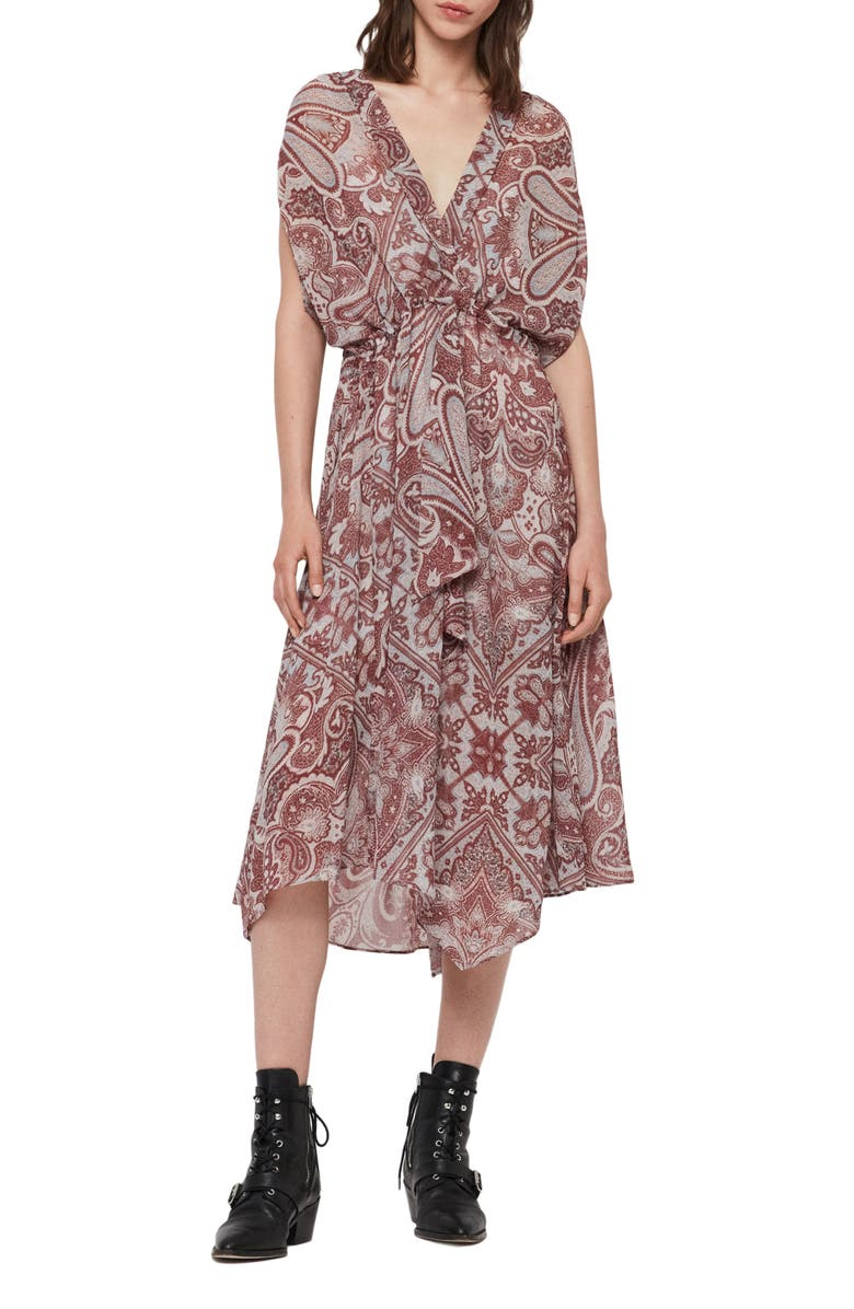 ALLSAINTS Romina Paisley Scarf Dress, Main, color, RED