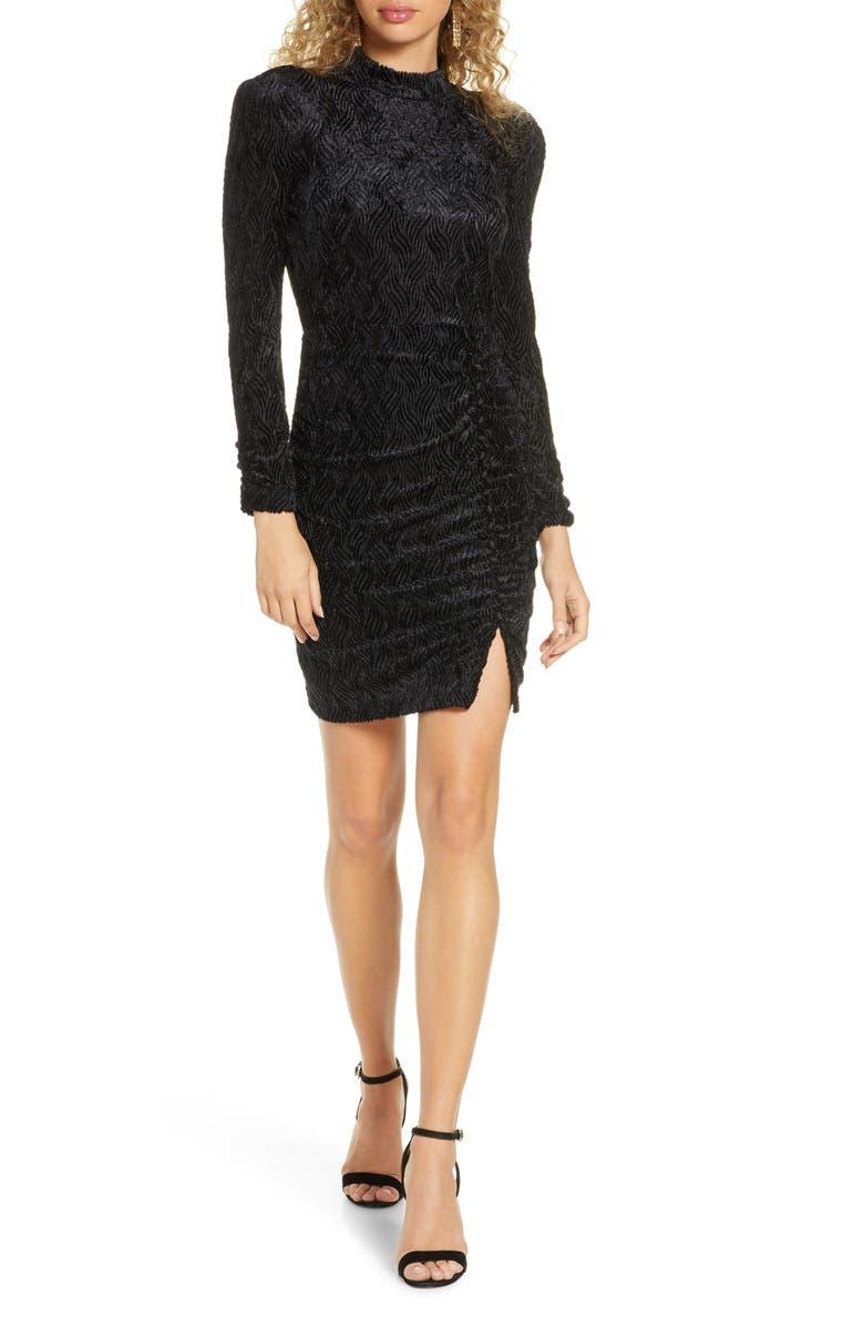ALI & JAY Ha Cha Cha Long Sleeve Velvet Minidress, Main, color, BLACK VELVET