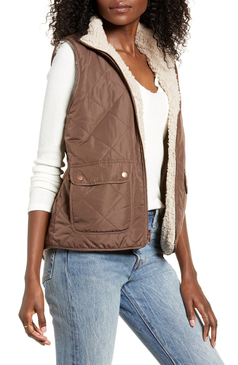 THREAD & SUPPLY Wubby Reversible Fleece Lined Quilted Vest, Main, color, STEWART BROWN