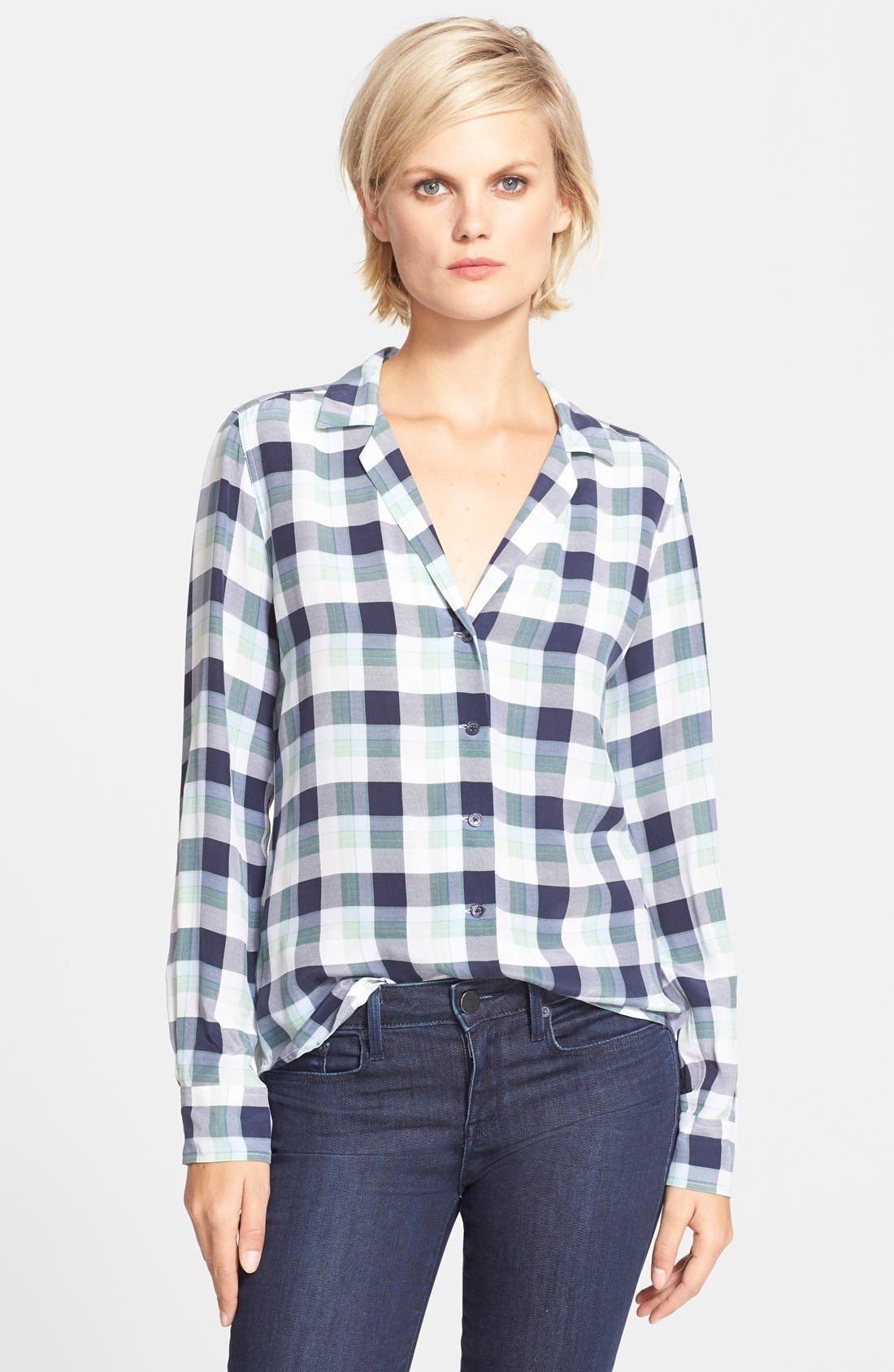 'Adalyn' Plaid Silk Shirt, Main, color, 400