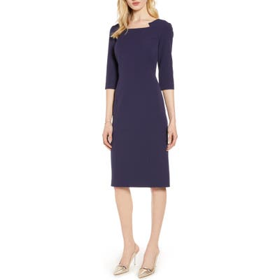 Halogen Stretch Crepe Sheath Dress, (similar to 1) - Blue