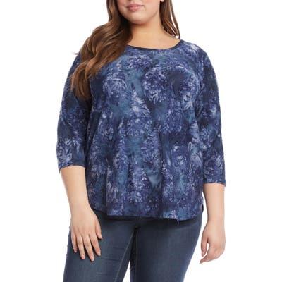 Plus Size Karen Kane Tie-Dye Burnout Shirttail Top, Blue