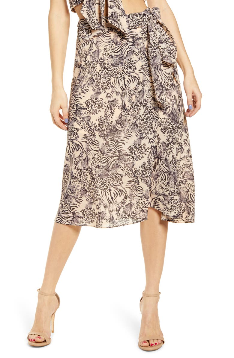 J.O.A. Wrap Midi Skirt, Main, color, PEACH ANIMAL MIX