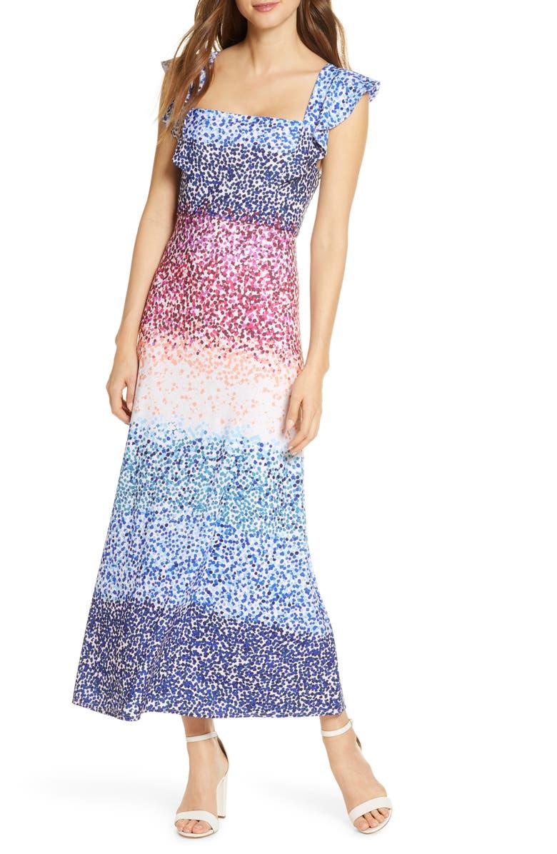 JULIA JORDAN Ruffle Sleeve Maxi Dress, Main, color, IVORY MULTI
