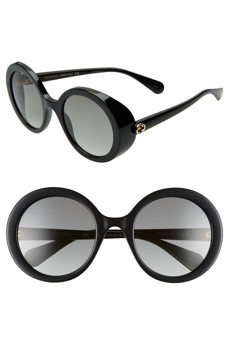 GUCCI 53mm Round Sunglasses, Main, color, BLACK/ GREY GRADIENT