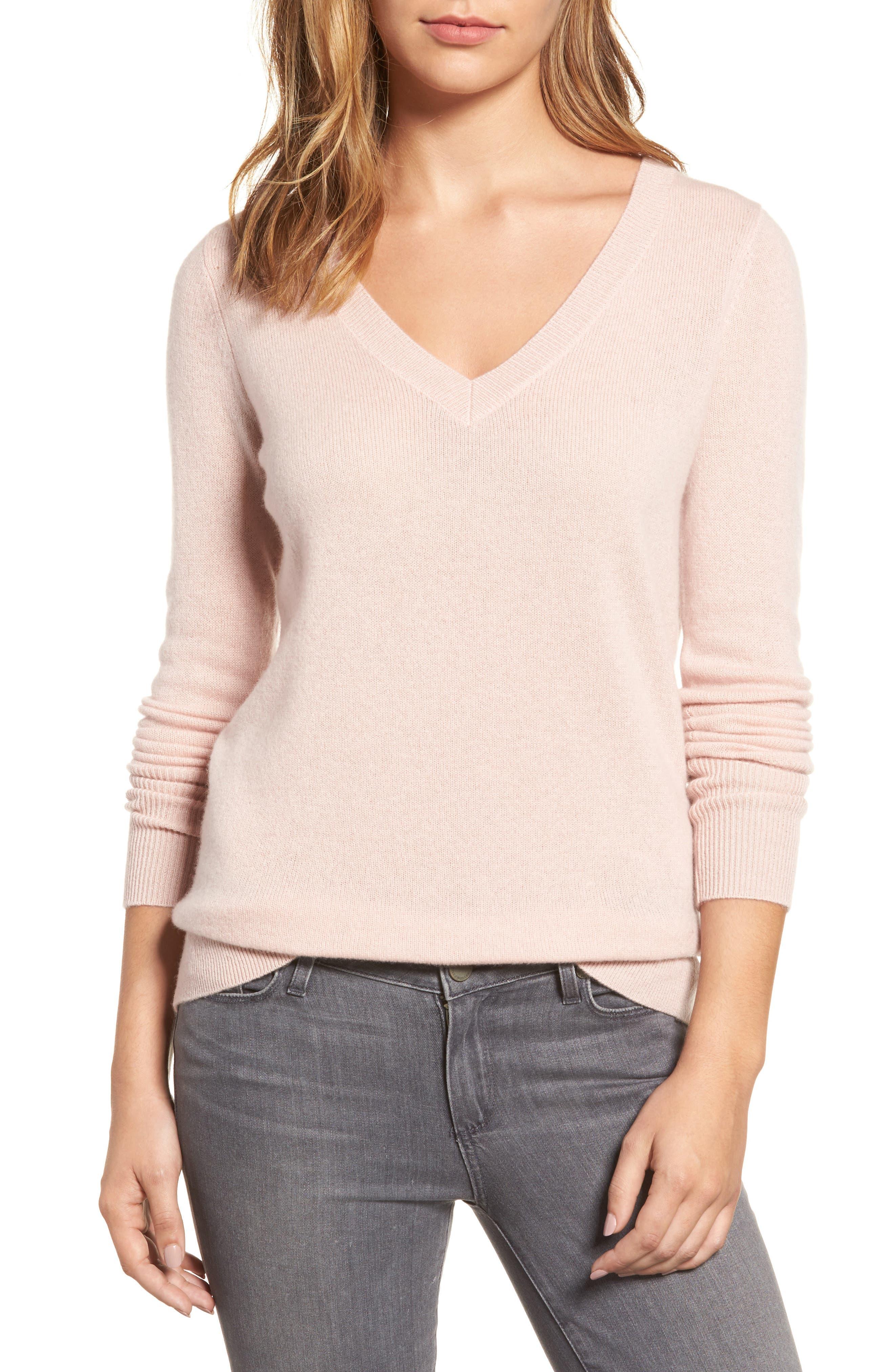 ,                             V-Neck Cashmere Sweater,                             Main thumbnail 65, color,                             680