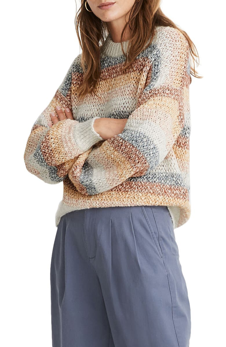 MADEWELL Baez Pullover Sweater in Stripe, Main, color, 700