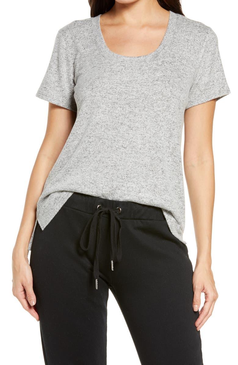 BP. Scoop Neck Hacci Knit Sleep T-Shirt, Main, color, GREY PEARL MARL