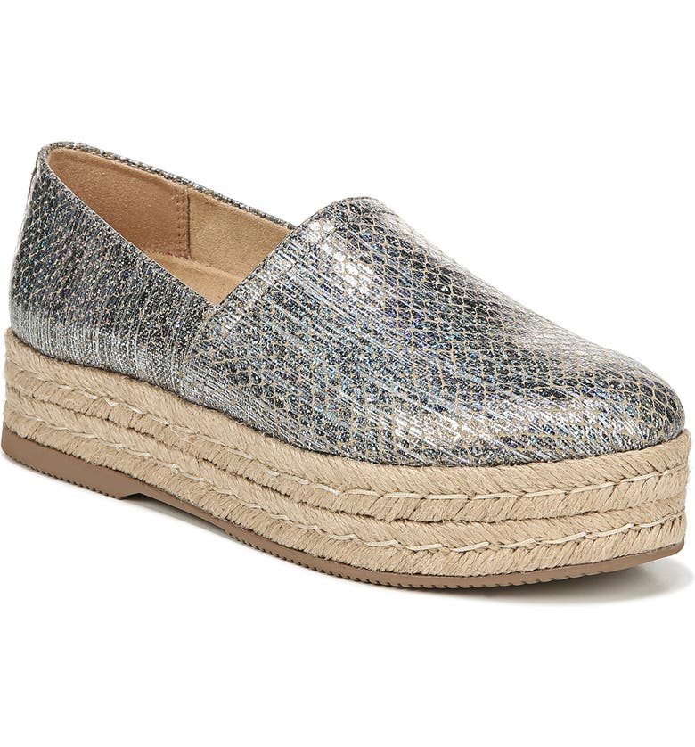 NATURALIZER Thea III Espadrille Slip-On, Main, color, PEWTER SNAKE LEATHER