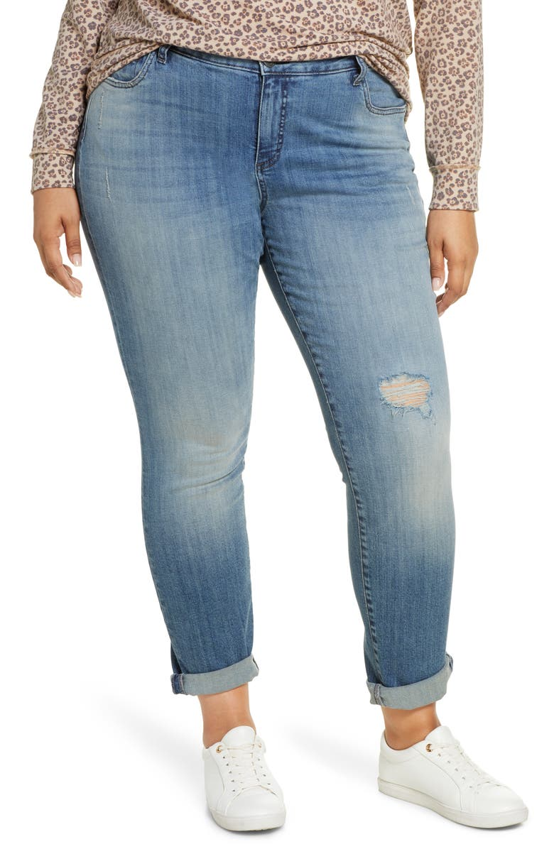 KUT FROM THE KLOTH Catherine Ripped Boyfriend Jeans, Main, color, REVIVAL