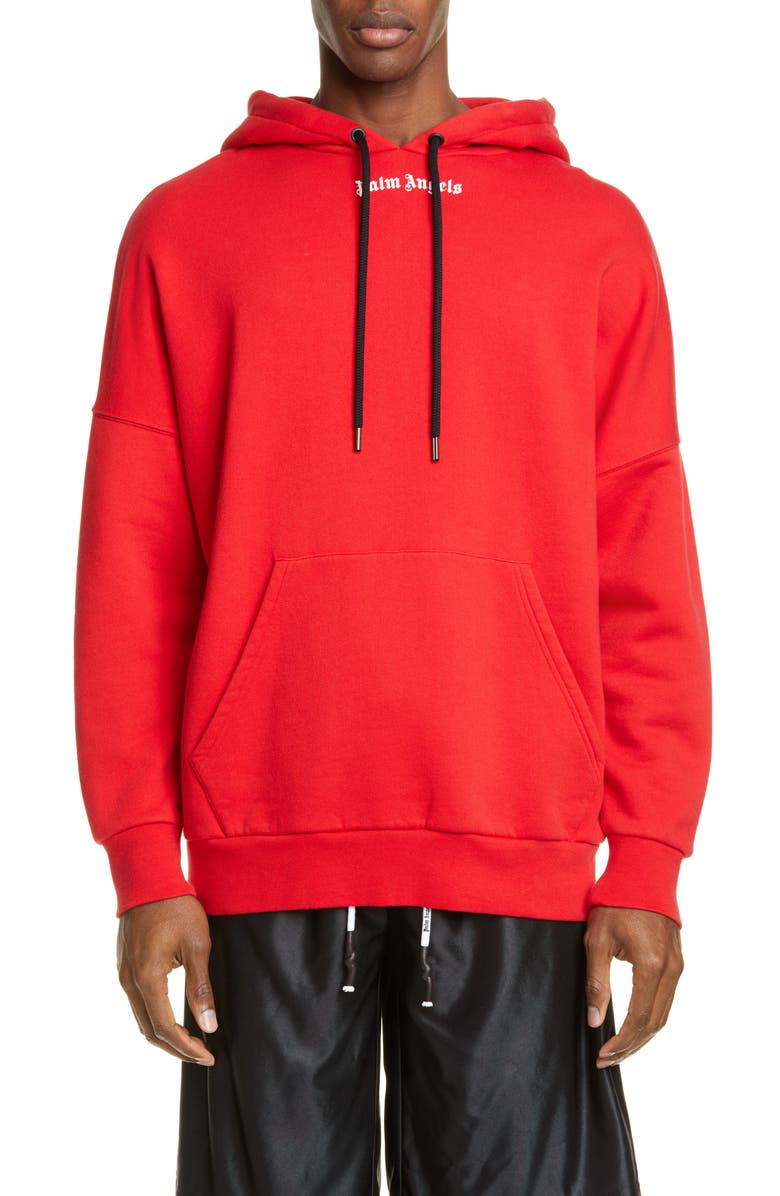 PALM ANGELS Logo Hoodie, Main, color, RED WHITE