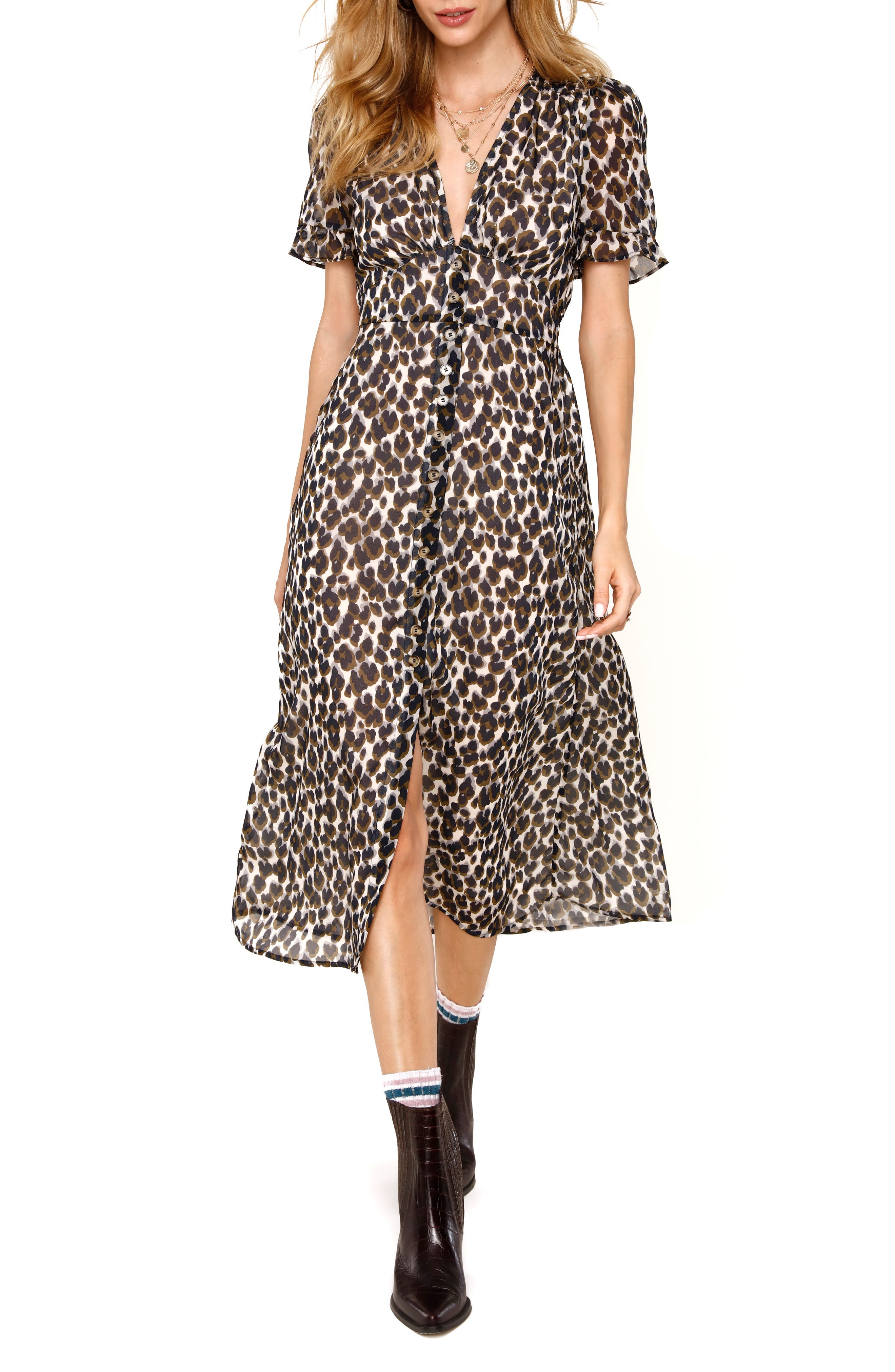 Image of Heartloom Carson Leopard Print Midi Dress