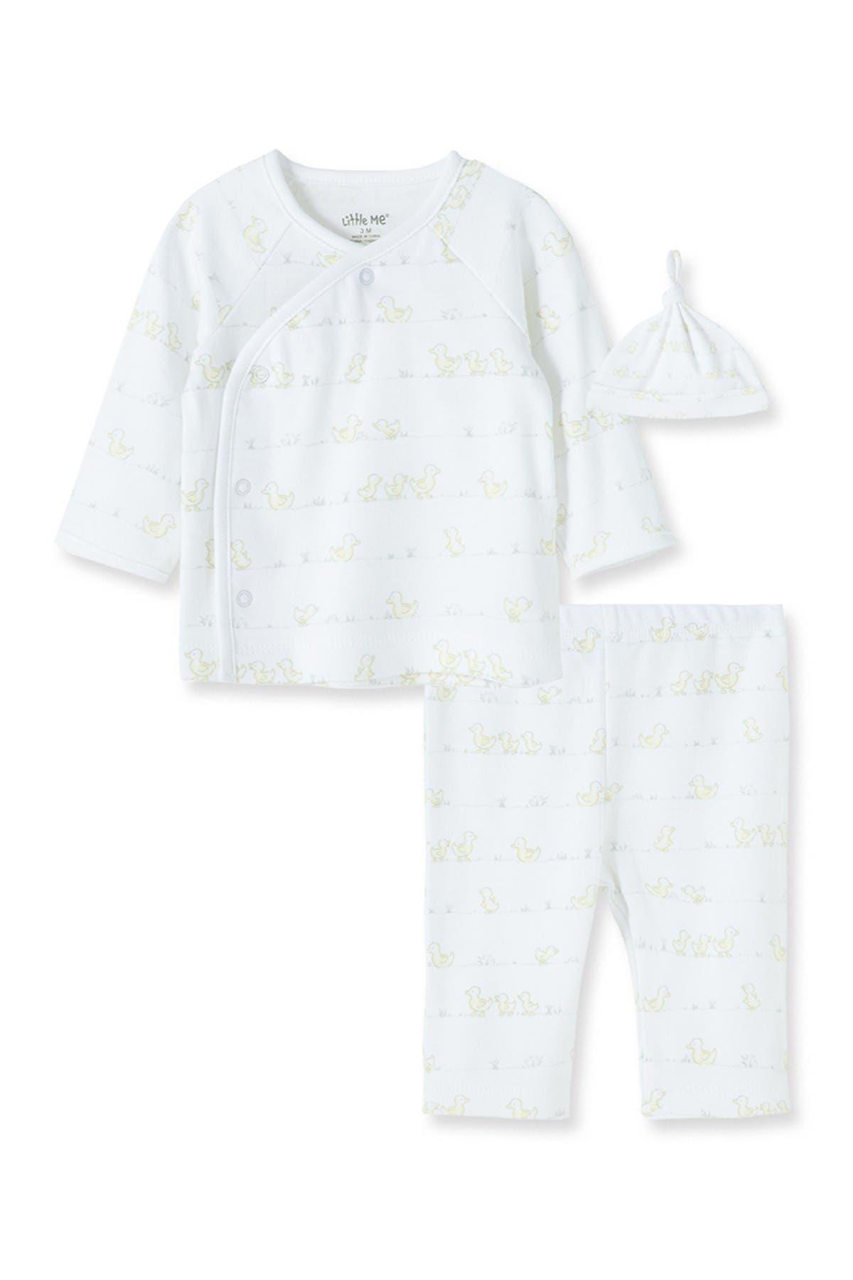 Image of Little Me Ducks 3-Piece Kimono & Beanie Set