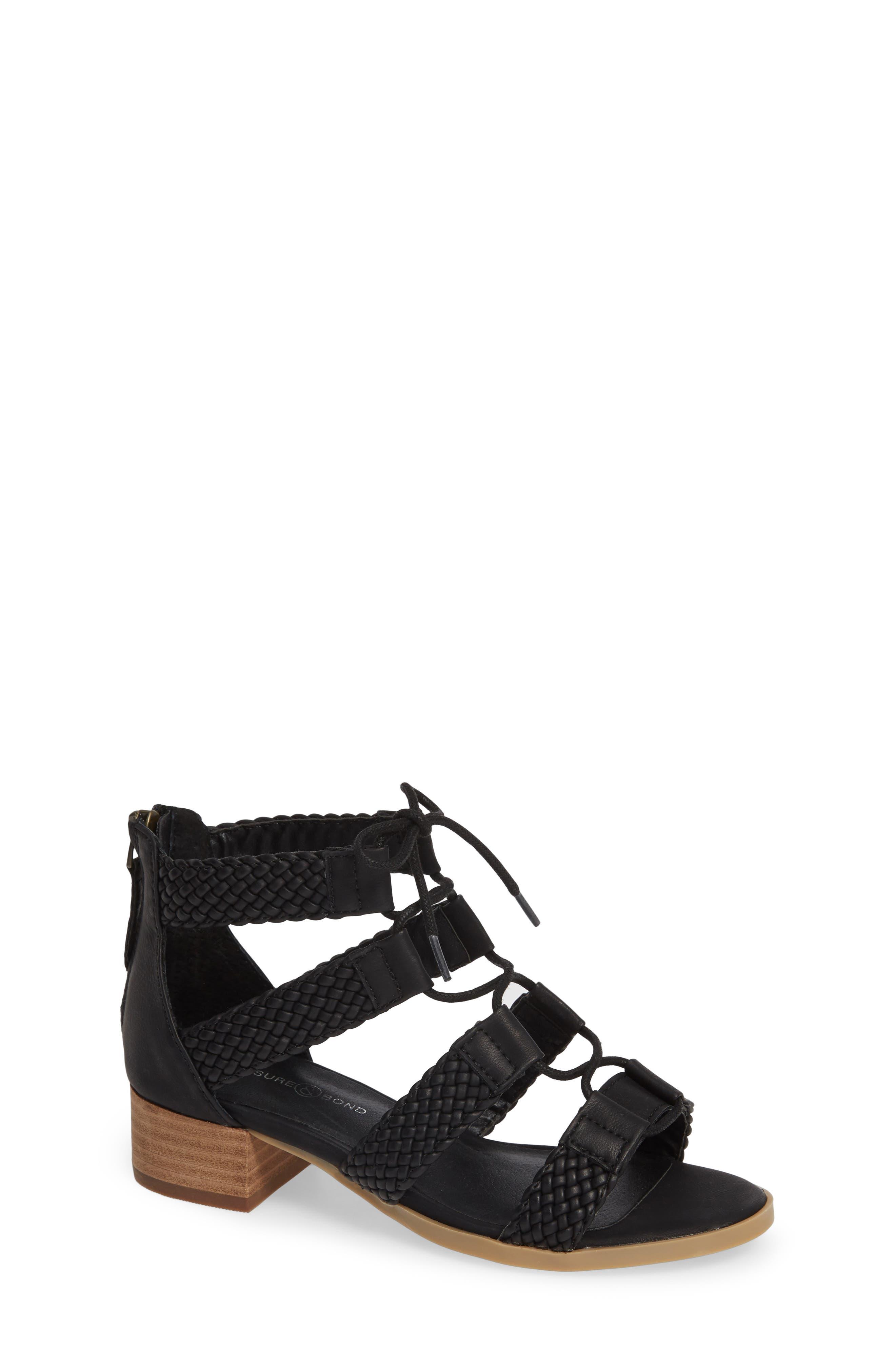 ,                             Layla Block Heel Sandal,                             Main thumbnail 1, color,                             BLACK FAUX LEATHER