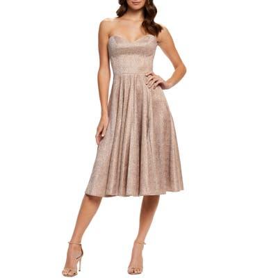 Dress The Population Vivenne Strapless Fit & Flare Dress, Pink