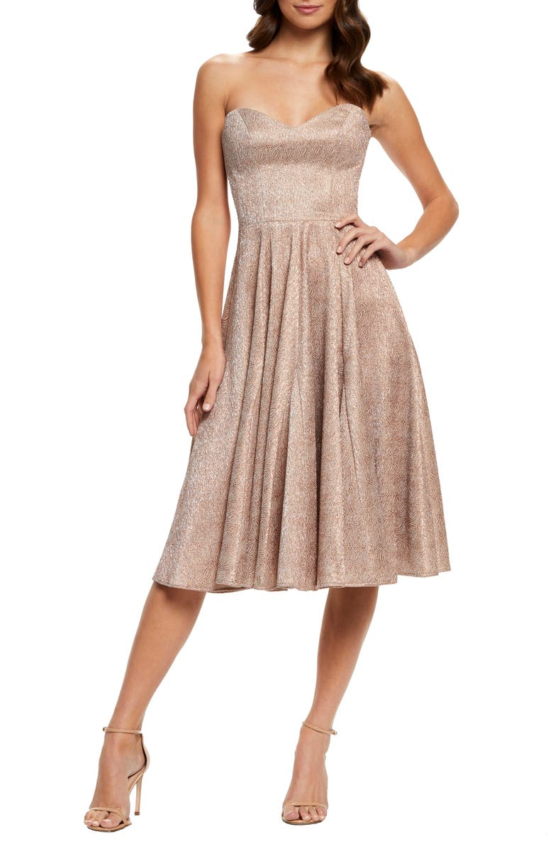 DRESS THE POPULATION Vivenne Strapless Fit & Flare Dress, Main, color, ROSE GOLD