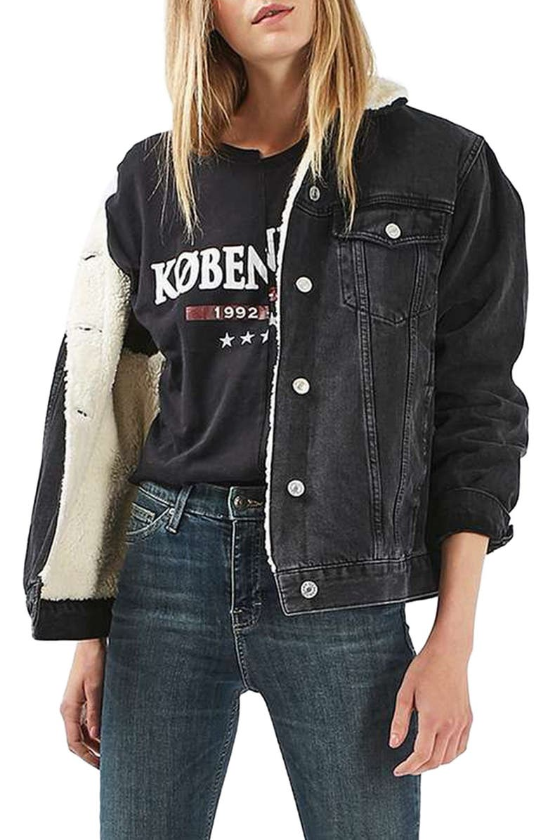 factory outlet save up to 80% new release Topshop Moto Borg Lined Denim Jacket | Nordstrom