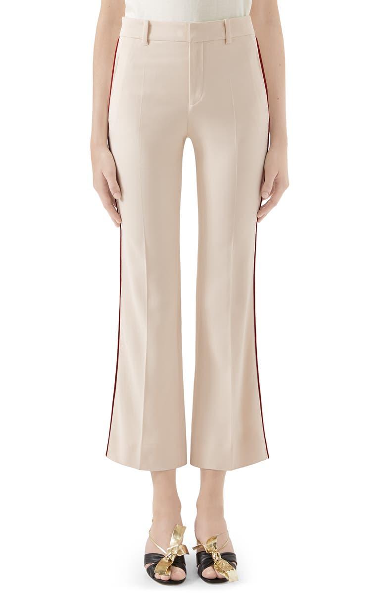 GUCCI Cord Trim Bootcut Cady Pants, Main, color, NINFEA WHITE
