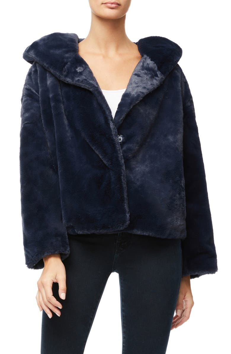 GOOD AMERICAN The Living Lavish Faux Fur Jacket, Main, color, NAVY001