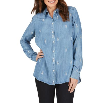 Foxcroft Carmen Embroidered Pineapple Chambray Shirt, Blue