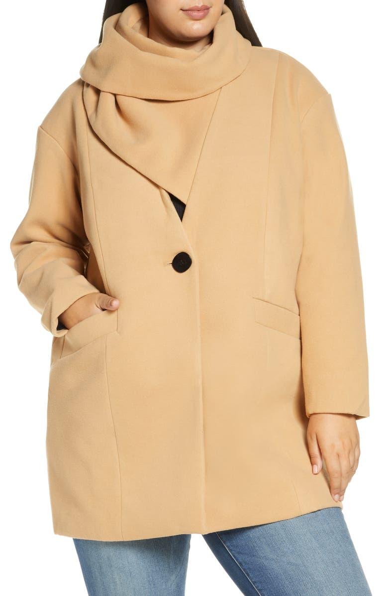 ELOQUII Scarf Collar Coat, Main, color, CAMEL