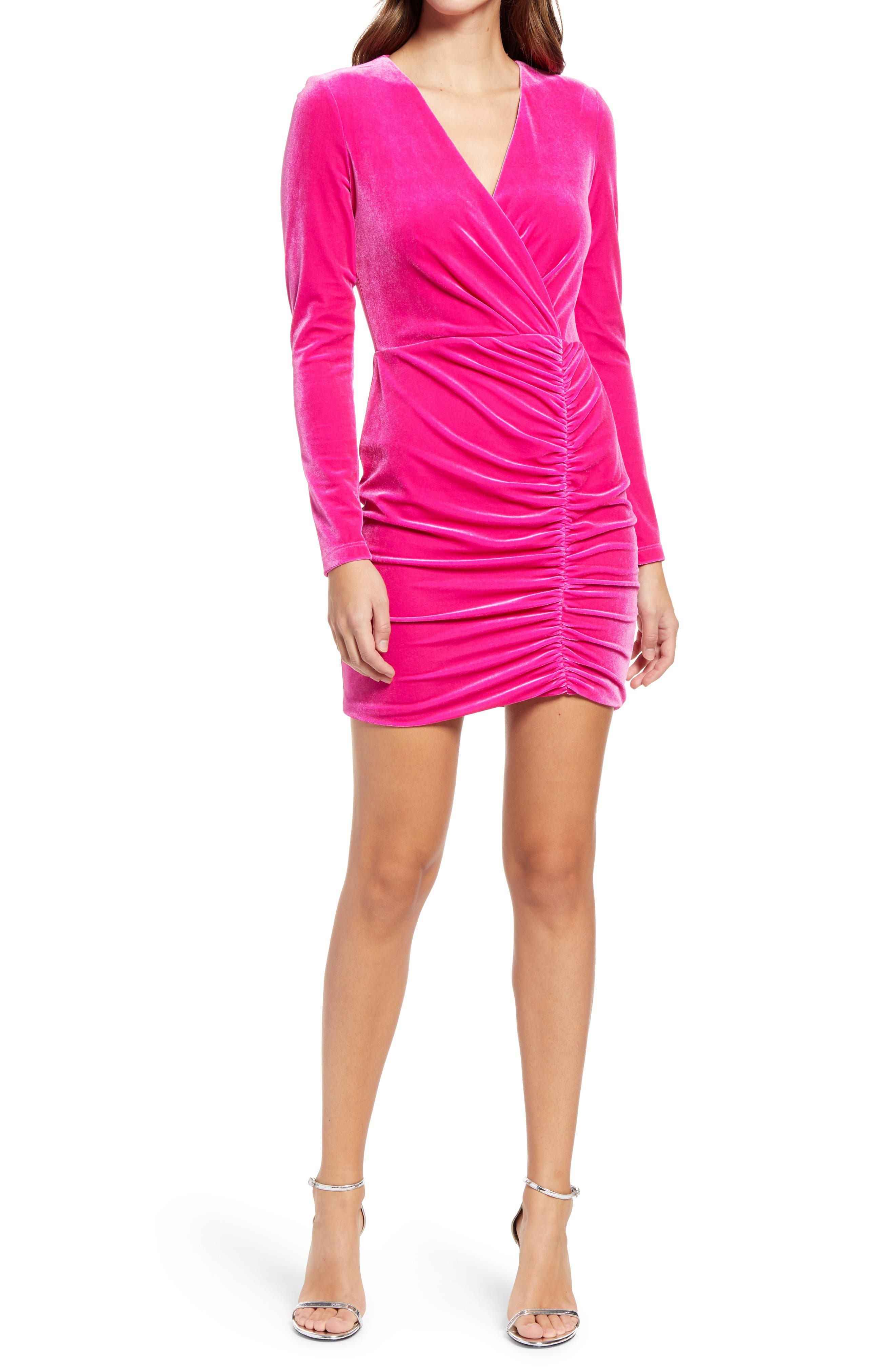 Como Long Sleeve Faux Wrap Velvet Dress