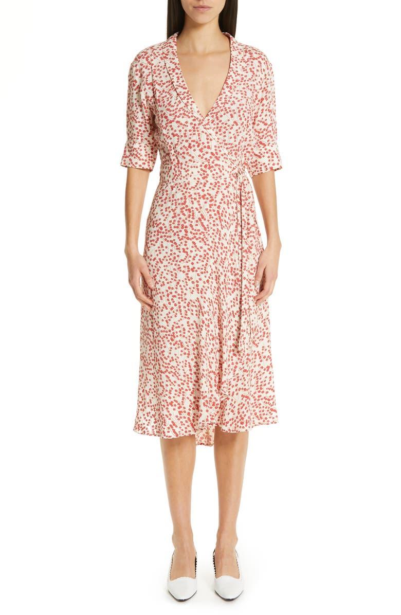 436eaf6df2c41 Floral Print Crepe Midi Wrap Dress, Main, color, EGRET