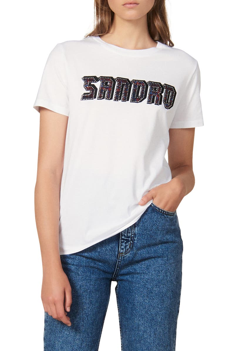 SANDRO Chella Embellished Graphic Crewneck Tee, Main, color, WHITE