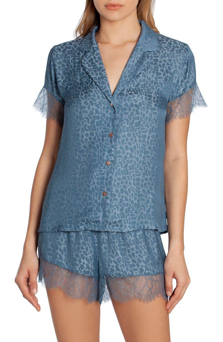 MIDNIGHT BAKERY Lace Trim Short Pajamas, Main, color, DENIM
