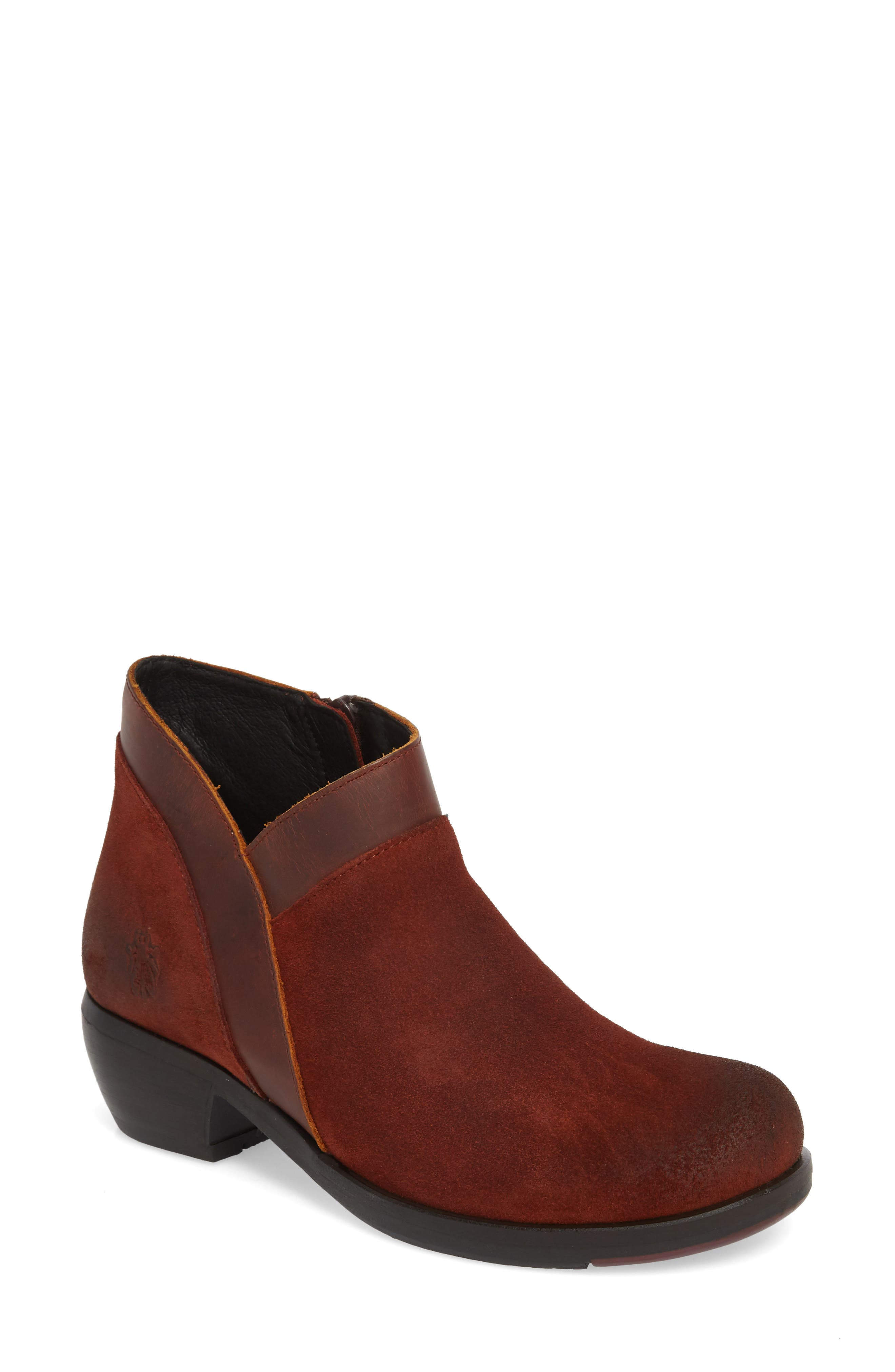 Fly London Meba Mixed Media Bootie - Red