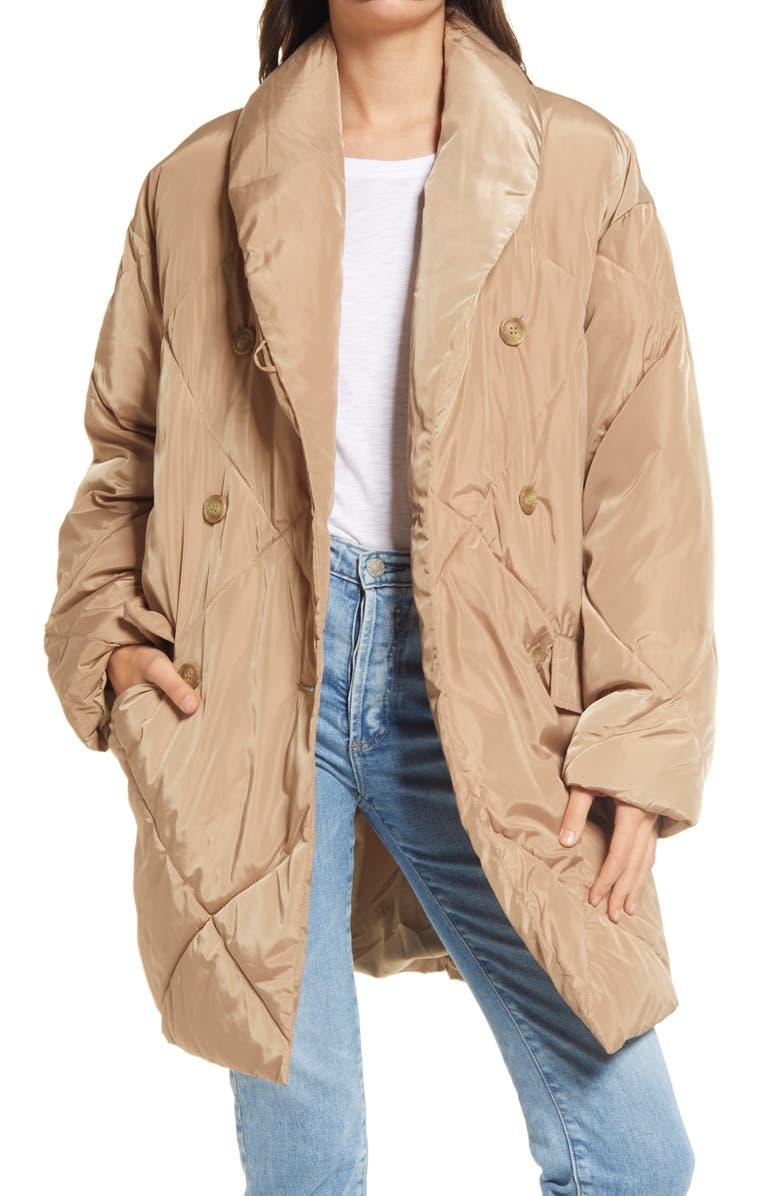 FREE PEOPLE Ella Puffer Coat, Main, color, SAND STONE