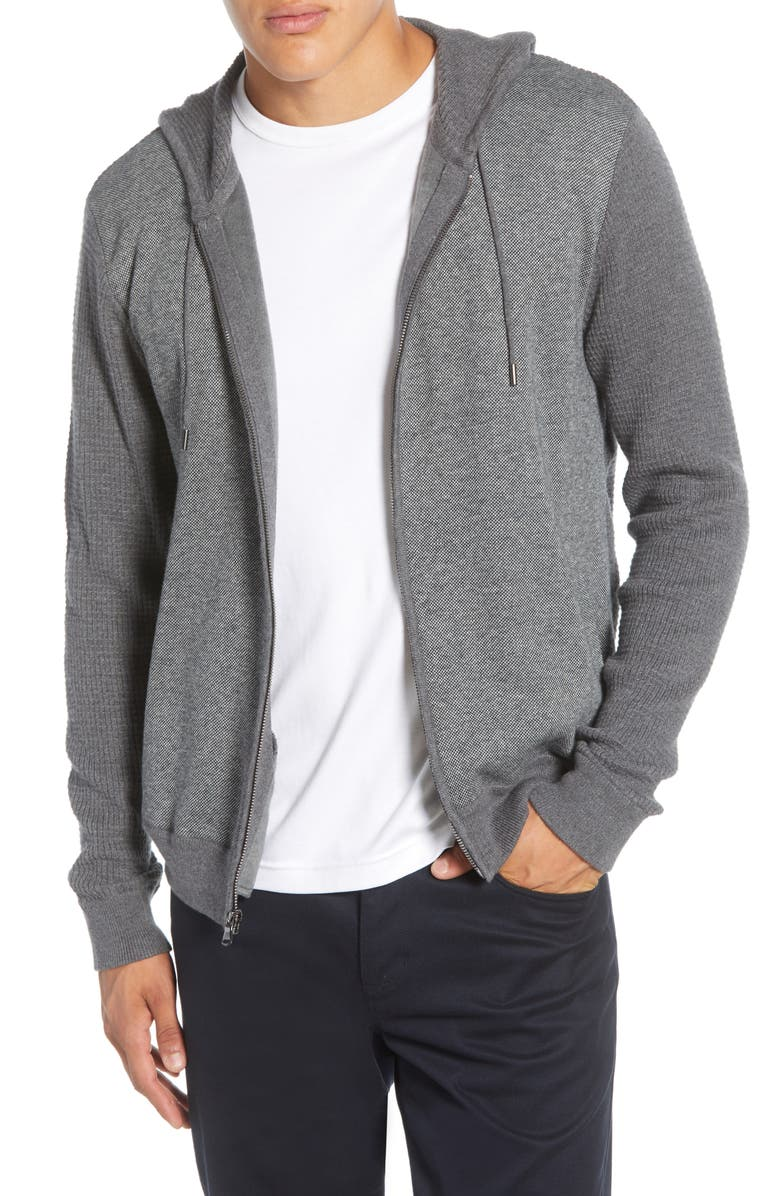 ZACHARY PRELL Collace Zip-Up Hoodie, Main, color, DK GREY