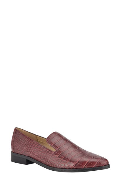 Nine West ZOLEE CROC EMBOSSED FAUX LEATHER LOAFER