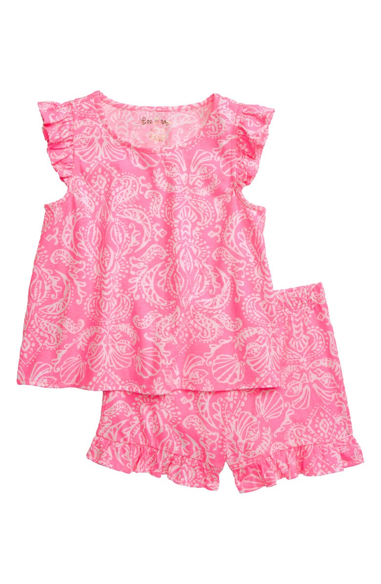 LILLY PULITZER<SUP>®</SUP> Ramira Flutter Sleeve Top & Shorts Set, Main, color, HAVANA PINK CLAWDIA