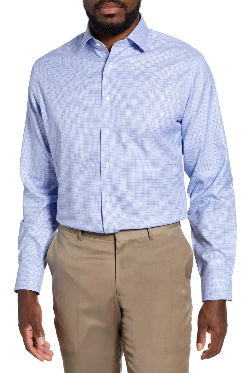 NORDSTROM MEN'S SHOP Trim Fit Non-Iron Check Dress Shirt, Main, color, BLUE CAMP