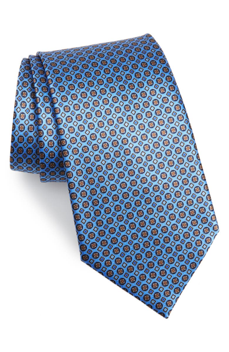 ERMENEGILDO ZEGNA Geometric Silk Tie, Main, color, BLUE