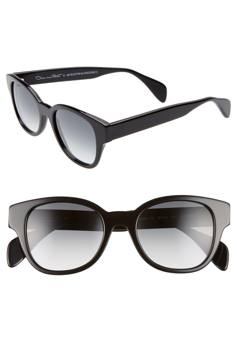OSCAR DE LA RENTA X MORGENTHAL FREDERICS Sabrina 50mm Cat Eye Sunglasses, Main, color, BLACK
