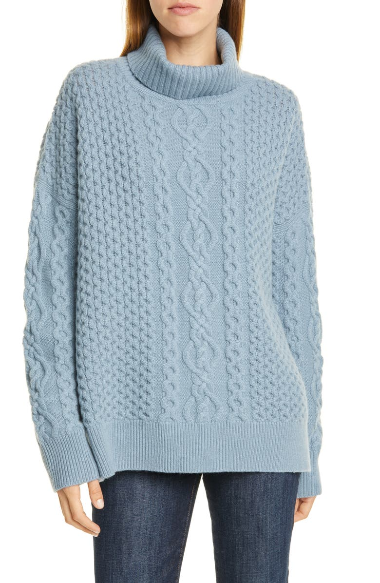 NORDSTROM SIGNATURE Oversize Cable Knit Cashmere Turtleneck Sweater, Main, color, BLUE CHAMBRAY
