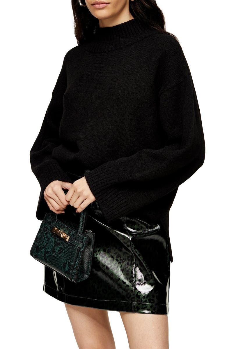 TOPSHOP Mock Neck Sweater, Main, color, BLACK