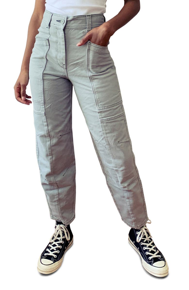 TOPSHOP Reese Utility Ankle Trousers, Main, color, GREY