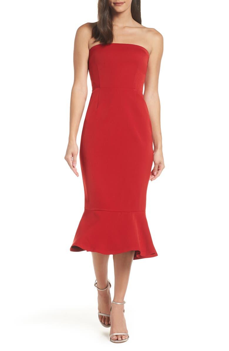 BB DAKOTA Bonded Crepe Strapless Dress, Main, color, BRIGHT RED