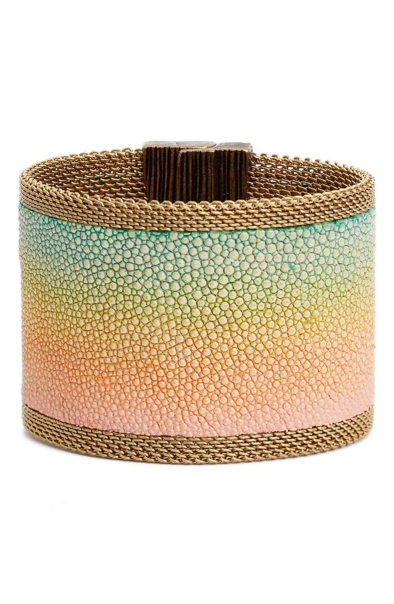 CYNTHIA DESSER Washed Pastel Stingray Wide Cuff Bracelet, Main, color, PEACH/PALE YELL/AQUA/ROSE/GLD