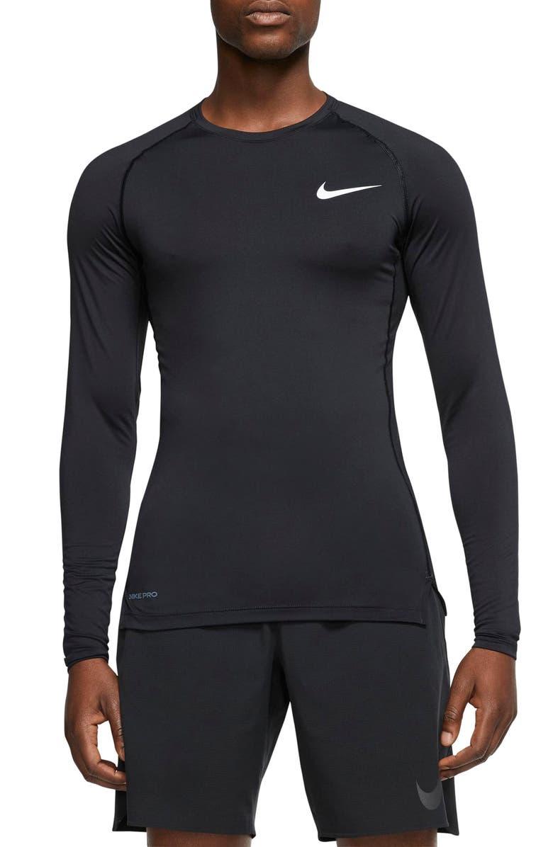 NIKE Pro Long Sleeve Dri-FIT Training Top, Main, color, BLACK/ WHITE