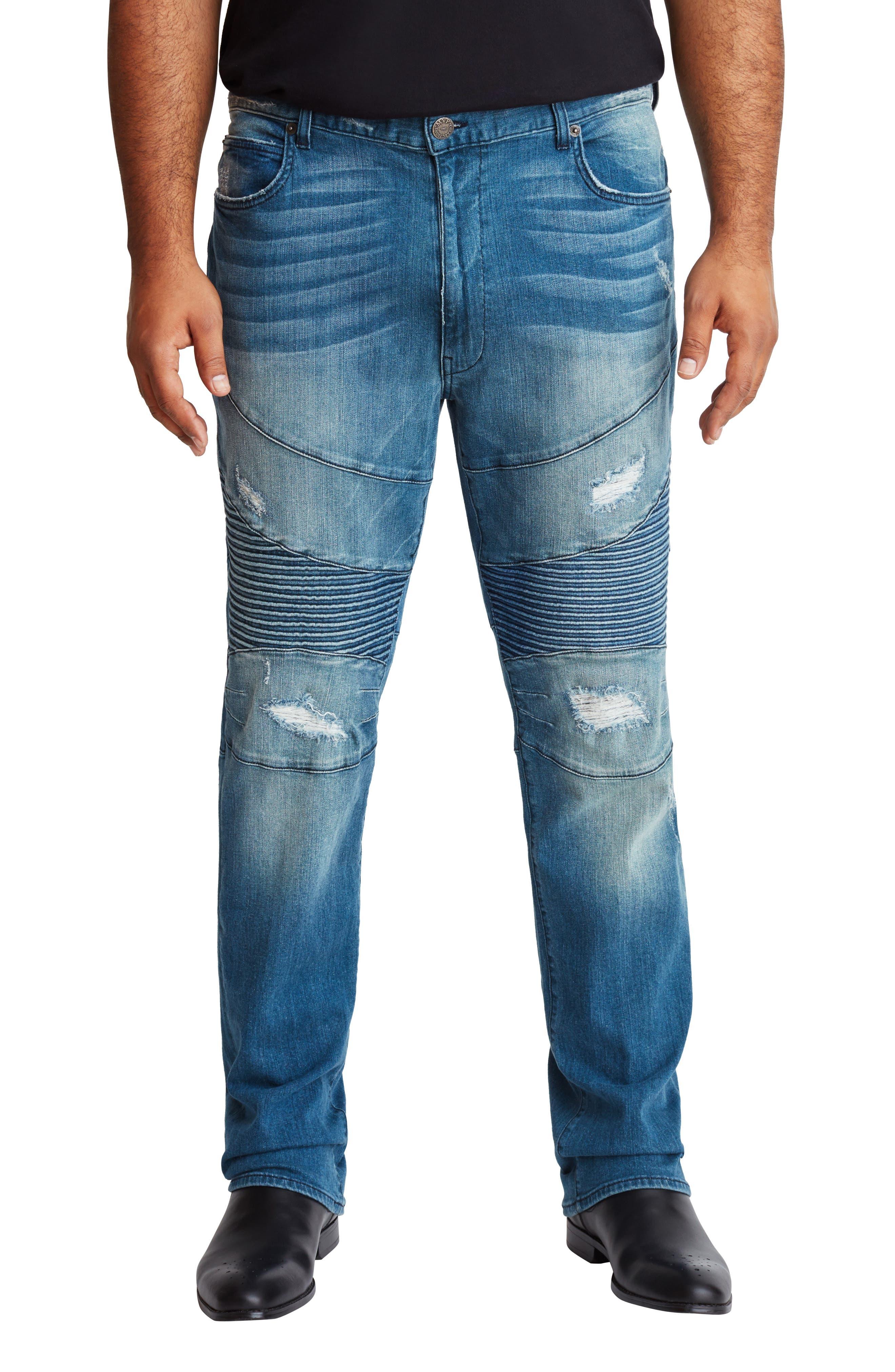 Men's MVP Collections Straight Leg Distressed Biker Jeans