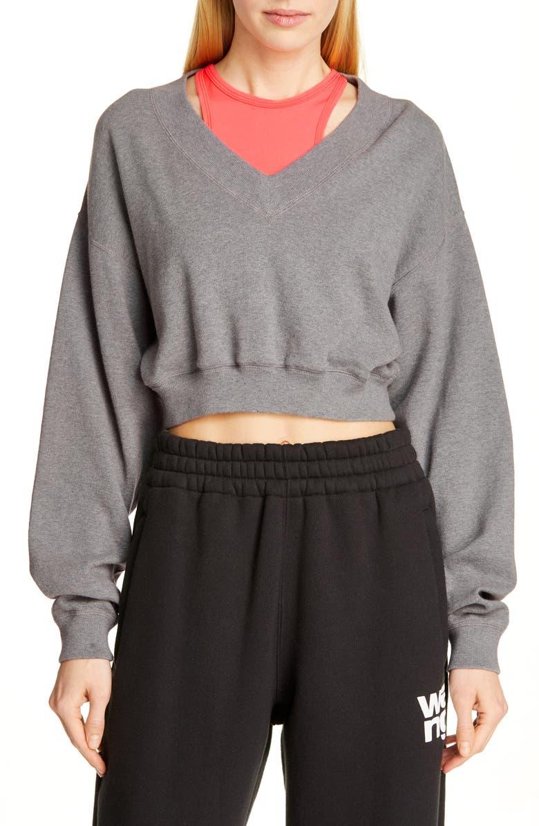 ALEXANDERWANG.T Bi-Layer Sweatshirt, Main, color, HEATHER GREY/ PINK